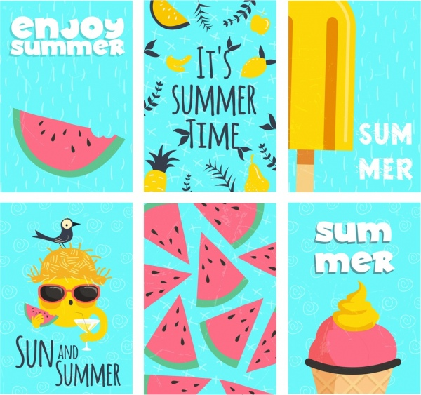 summer background sets watermelon cream fruit icons