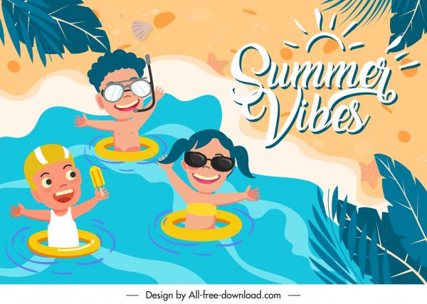 summer background template playful children sketch cartoon characters