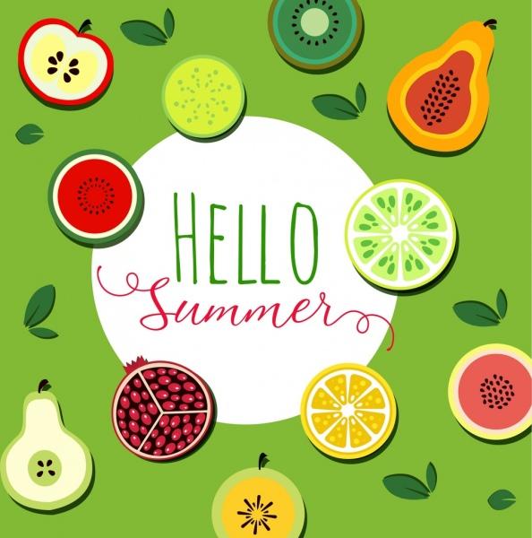 summer background tropical fruit icons flat sliced design