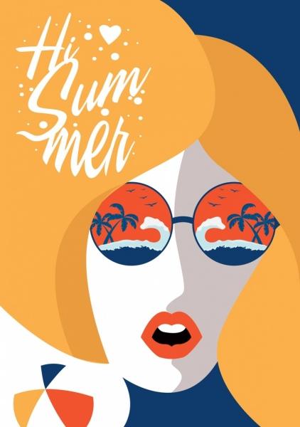 summer background woman face sunglasses beach icons decor