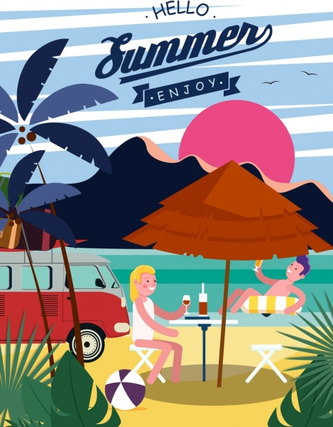 summer banner beach relaxed people icons classical design