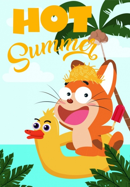 summer banner cute cartoon design stylized cat icon