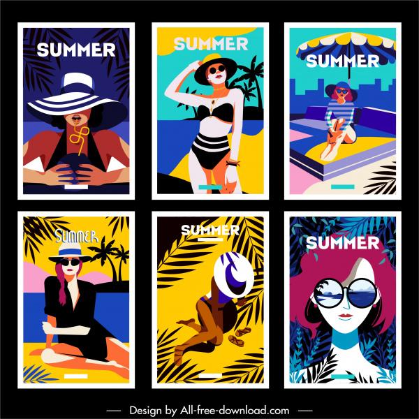summer banner lady beach fashion sketch cartoon characters