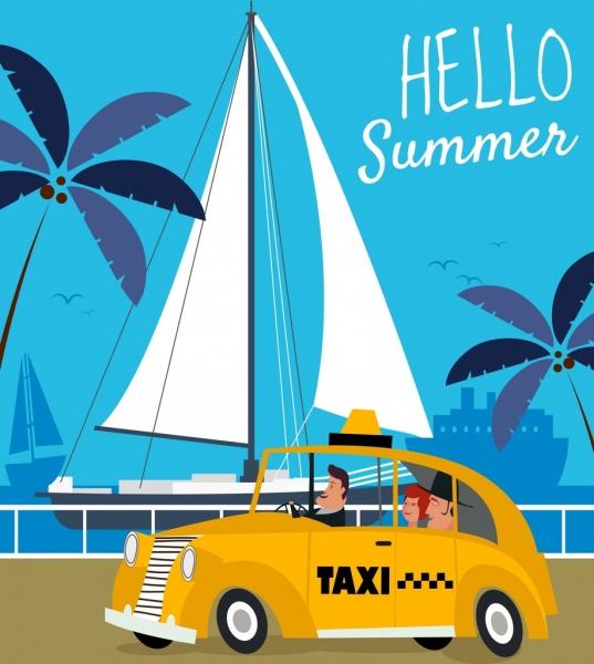 summer banner taxi ship icons cartoon design
