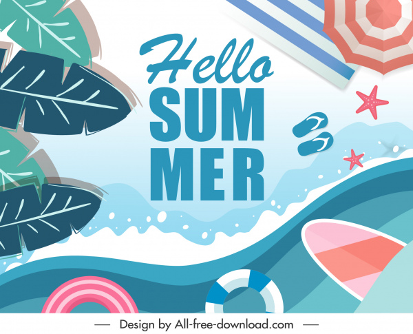 summer banner template flat colorful leaves sea elements