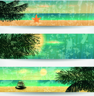 summer banners design vector