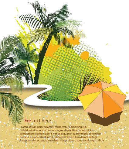 summer beach elements vector backgrounds art