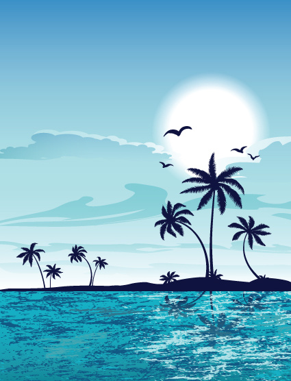 summer beach elements vector backgrounds art