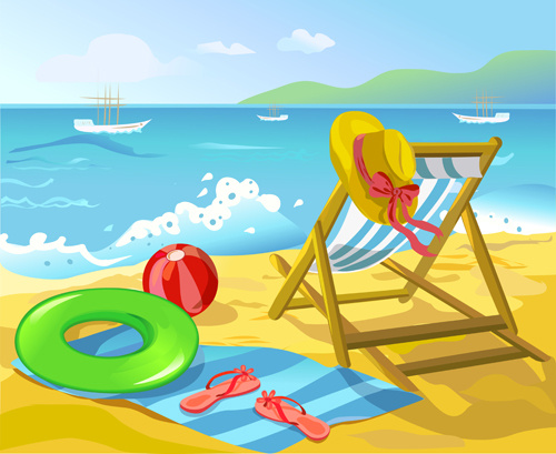 summer beach travel backgrounds vector