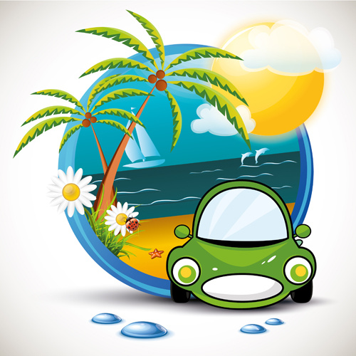 summer beach travel emblems