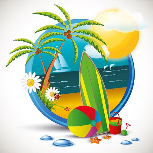 summer beach travel emblems
