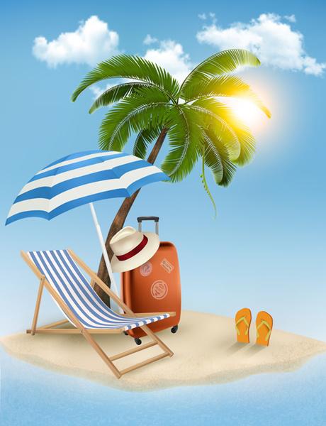 summer beach vacation background art vector
