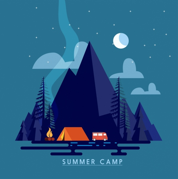 summer camp banner natural mountain moonlight icons