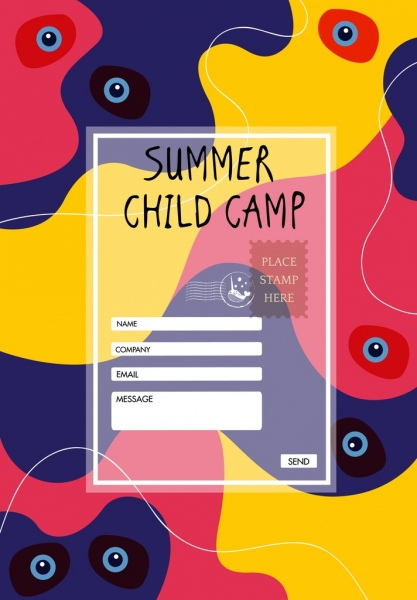 summer camp registration template transparent postcard decor