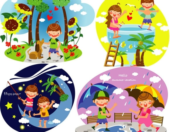 summer clip art of children 3