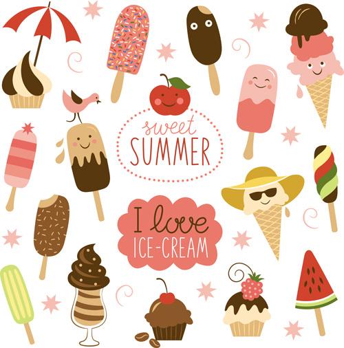 summer delicious ice cream set vector