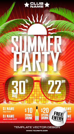 summer disco night party flyer