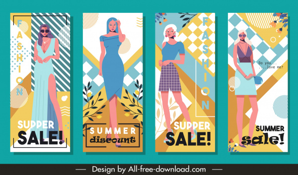 summer fashion sale flyers colorful female model decor