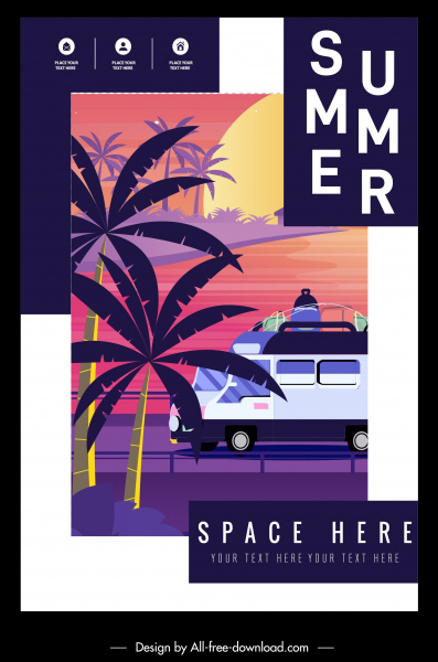 summer flyer template coconut bus sketch classical design