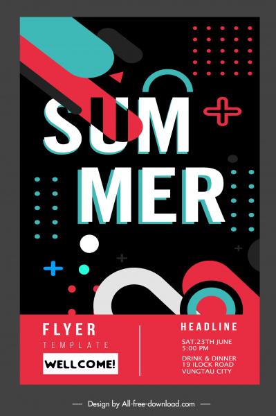 summer flyer template dark modern colorful decor