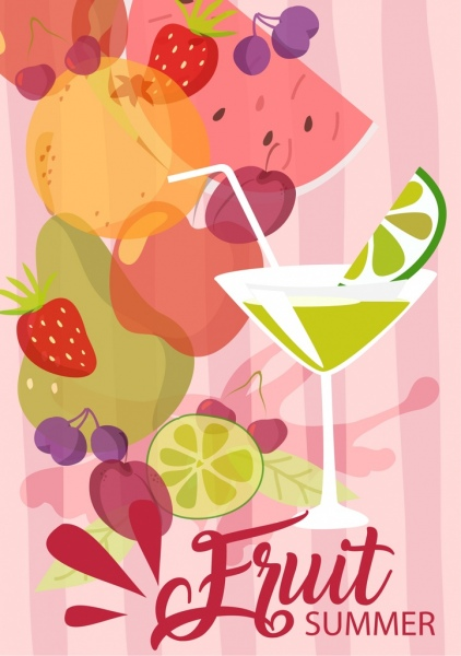 summer fruit banner various symbols decor cocktail icon