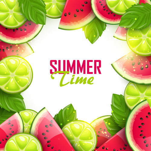 Summer Fruits Art Background Vector Set Free Vector In
