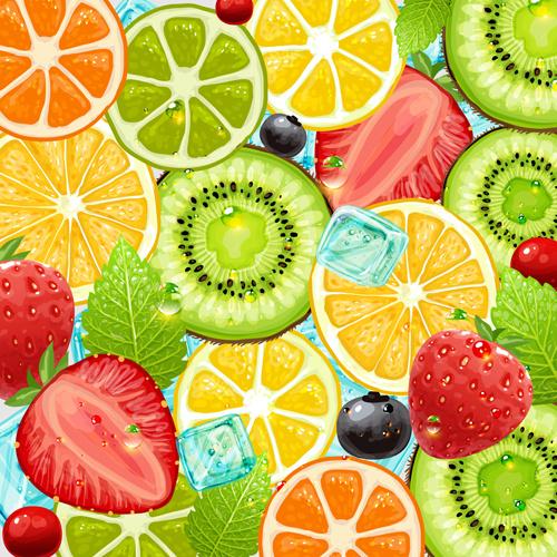 summer fruits backgrounds vector