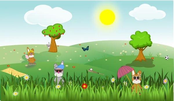 Summer green and sunny landscape with bunnies, trees, flowers, butterfly, apples, sports, ...