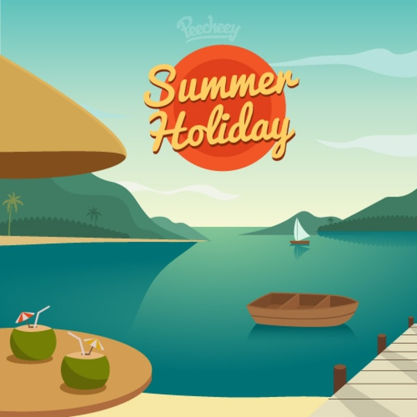 Calendar Holiday Clip Art : Cartoon summer holiday on beach free vector download