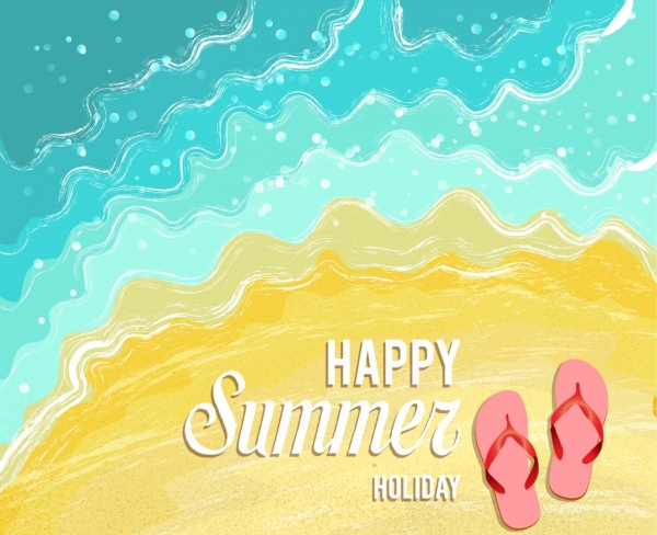 summer holiday banner beach sand slippery icons