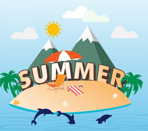 summer holiday banner island sea vacation decoration