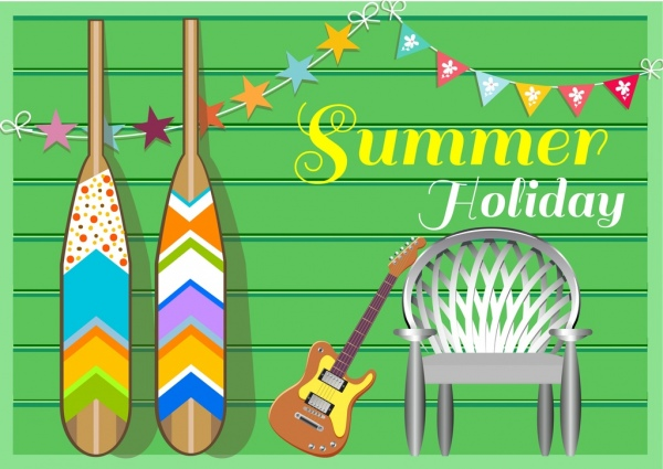 summer holiday banner row guitar chair icons decor