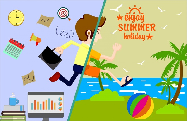 summer holiday banner with transforming design style