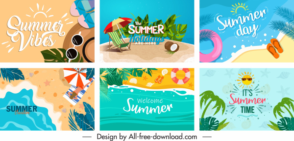 summer holiday banners colorful sea elements decor
