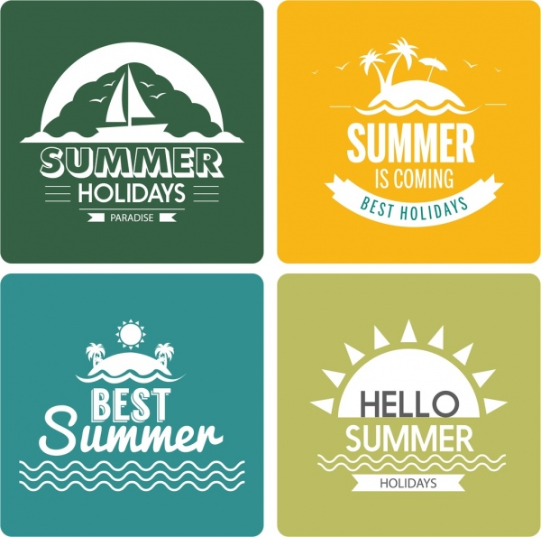 summer holiday design elements sun boat island ornament