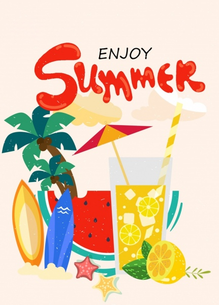 summer holiday poster cocktail fruit coconut umbrella icons