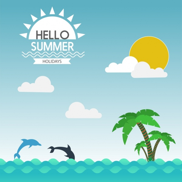 summer holiday promotion banner dolphin coconut seascape decoration
