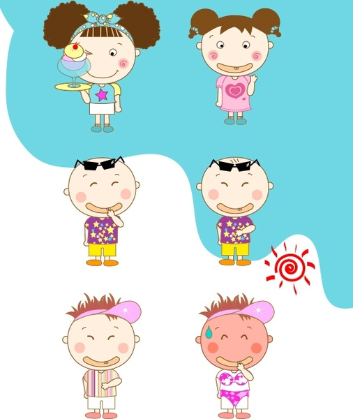 summer in the lovely little boy and girl vector