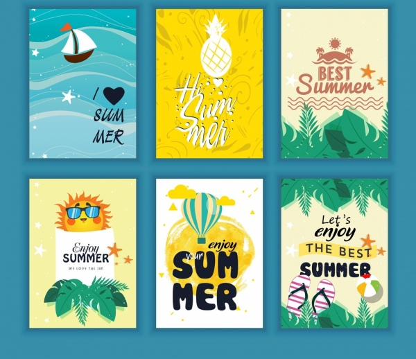summer leaflet sets sea fruit balloon icons decor