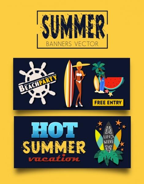 summer party banners bikini girl surfboard coconut icons