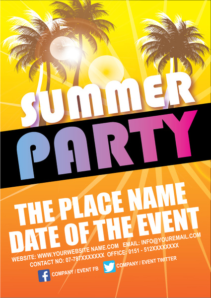 Summer Party Poster Design Free Vector In Adobe