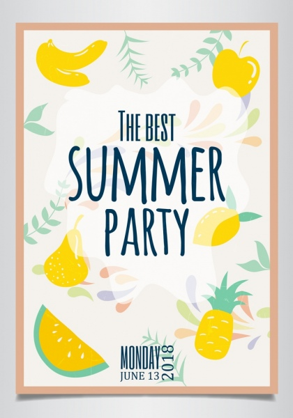 summer party poster fruit background classical handdrawn design