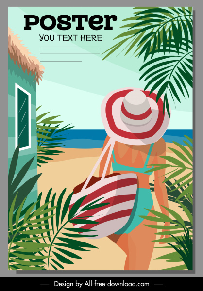 summer poster bikini girl sea view sketch