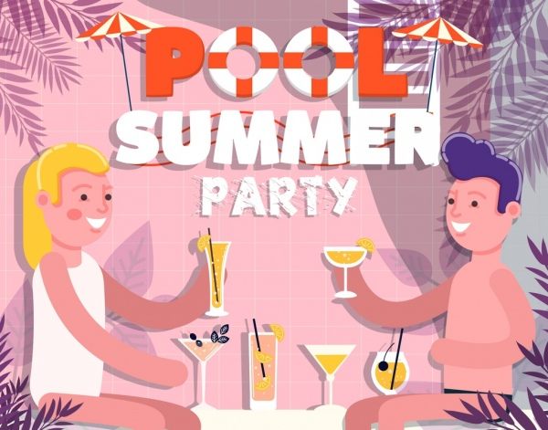 summer poster cheering couple icon colored cartoon design