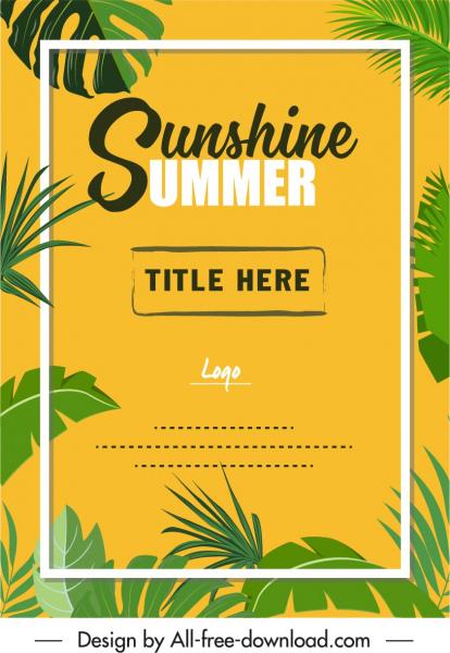 summer poster classic green leaves frame decor