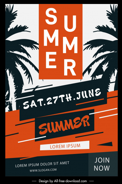 summer poster template coconut silhouette black red classic