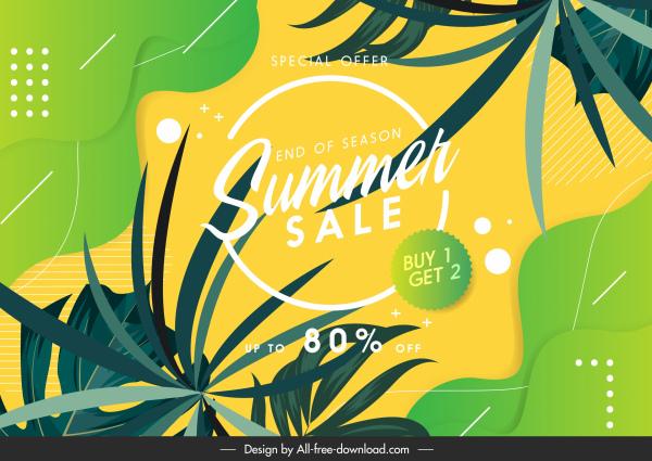 summer sale banner bright colorful nature elements decor