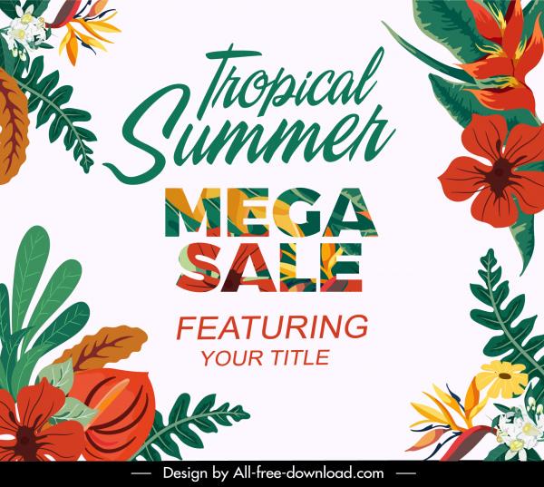 summer sale banner elegant bright colorful flowers decor