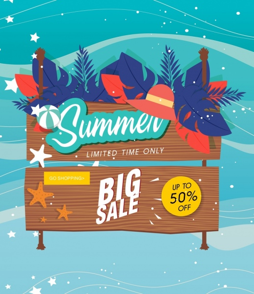 summer sale banner wooden signboard leaves icons decor