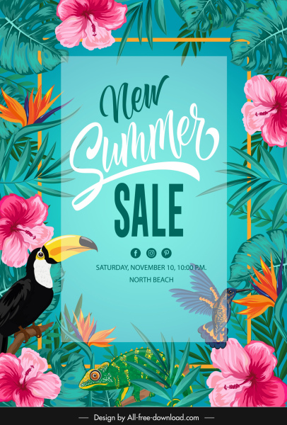 summer sale poster template colorful flowers wild species